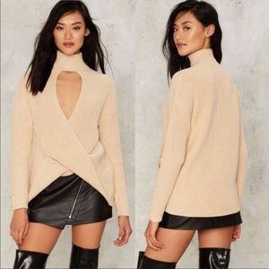 Nasty Gal Cut Across Ribbed sweater